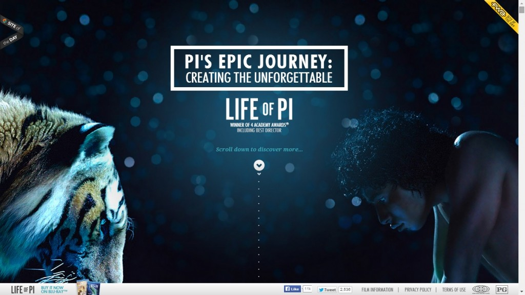 Life of Pi One Page Website Designs