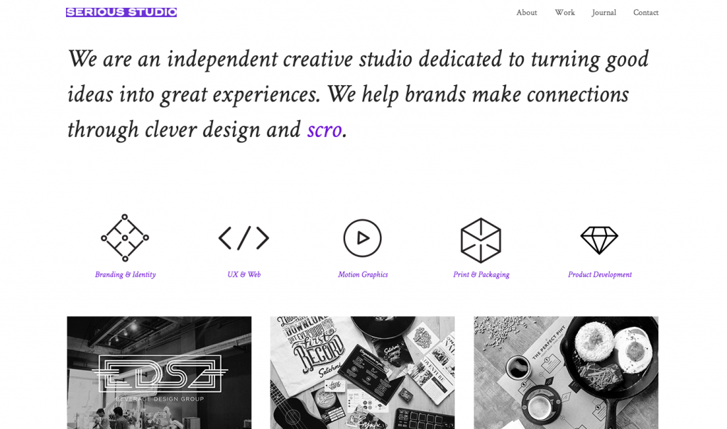 Serious Studio One Page Web Design