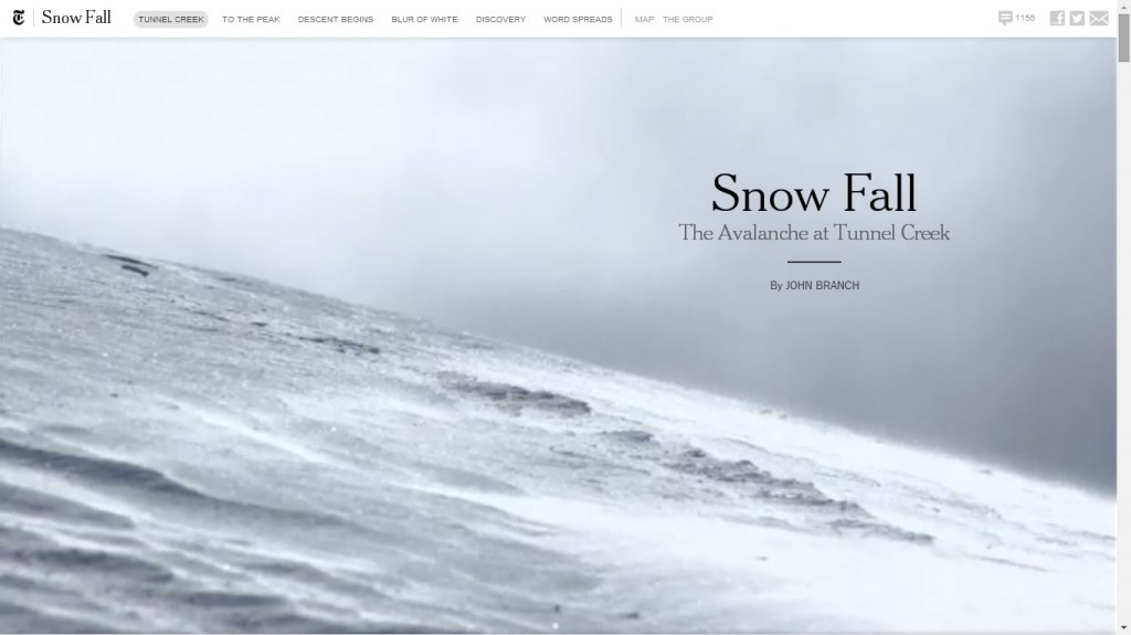 Snowfall NYTimes One Page Website Designs